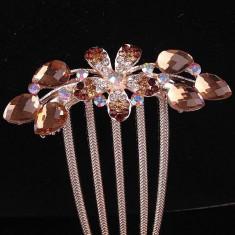 Accesoriu de par placat cu Aur 18k cuTopaz si cristale Swarovski Flower - Clama