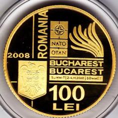 BNR 100 lei 2008 aur, 6, 45 grame, Summitul Nato TIRAJ 500 bucati - Moneda Romania