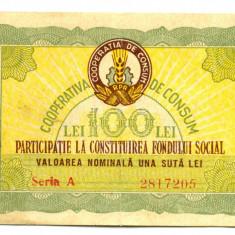 BON VALORIC 100 LEI  COOPERATIVA. DE CONSUM  ANUL 1959 LOC SACALAZ RAION TIMISOARA VF-XF