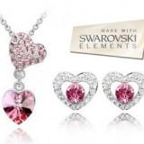 Set  bijuterii -Love-Cristal tip Swarovski Elements, placat cu aur alb 18 k, Energie