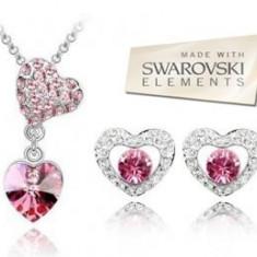 Set bijuterii -Love-Cristal tip Swarovski Elements, placat cu aur alb 18 k - Set bijuterii placate cu aur Energie