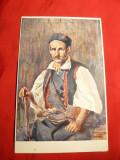 Ilustrata - Costum Taran Sarb - Primul Razboi Mondial ,Yugoslavia