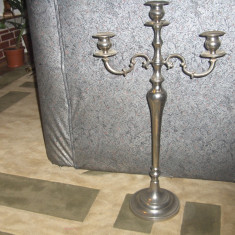 Sfetnic bronz argintat 70 cm - Metal/Fonta, Sfesnice