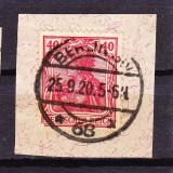 "Timbre GERMANIA REICH 1902/ MI.75 = ""GERMANIA"", 40 Pf. ST. FARA Wz. PE FRAGMENT de PLIC"