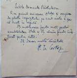 Scrisoare scrisa olograf de Generalul Cerkez si adresata lui Barbulescu