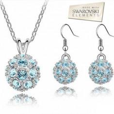 Set bijuterii -Aqua -Cristal tip Swarovski Elements, placat cu aur alb 18 k - Set bijuterii placate cu aur Energie