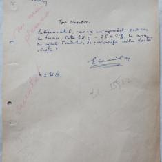 Adresa scrisa olograf de scriitorul Eusebiu Camilar , catre Fondul Literar ,1958