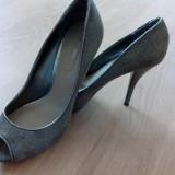 Pantofi dama zara de piele - Pantof dama Zara, Culoare: Argintiu, Marime: 40, Argintiu