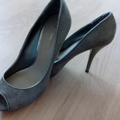 Pantofi dama zara de piele - Pantof dama Zara, Culoare: Argintiu, Marime: 40, Argintiu, Cu toc