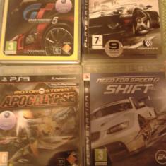 Vand pachet 4 Jocuri PS3 Sony, masini, rally, NFS, GT, GRID, ca noi, Curse auto-moto, 12+, Multiplayer