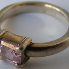 Inel vechi din argint cu piatra alba (5) - de colectie - Inel argint