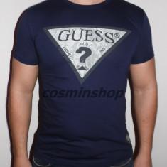 Tricou GUESS Model NOU de Sezon - Alb / Bleumarin !!! - Tricou barbati Guess, Marime: L, XL, XXL, Maneca scurta, Bumbac
