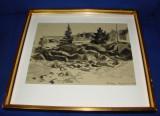 Impresionanta acuarela realizata de graficianul suedez Sven Olof Alfred Rosen, datata 1933, Peisaje, Impresionism