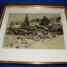 Impresionanta acuarela realizata de graficianul suedez Sven Olof Alfred Rosen, datata 1933 - Pictor strain, Peisaje, Impresionism