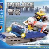 Politia pe apa tip lego, 125 piese, jucarie constructiva, Kazi 6733 - Jocuri Seturi constructie
