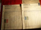 Factura cu 2 pag. Concentra SAR Bucuresti 1937 ,4 timbre fiscale si Aviatie, Romania 1900 - 1950