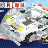 Masina de politie tip lego, 114 piese, jucarie constructiva, AUSINI 23406 - Set de constructie