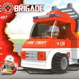 Masina de pompieri tip lego, 101 piese, jucarie constructiva, AUSINI 21407 - Set de constructie