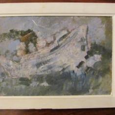 """PVM - """"Vapor cu aburi pe marea involburata"""" ulei pe carton nesemnat, deosebit"""