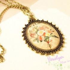 Colier aspect vintage, model floral, auriu - Colier fashion