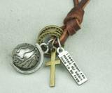 Lant de piele universal medalion GLOB ROTATIV si cruce