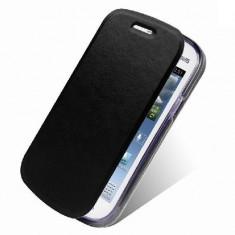 Husa Samsung Galaxy Trend Lite S7390 S7392 Flip Case Slim Black - Husa Telefon Samsung, Negru, Piele Ecologica, Cu clapeta, Toc