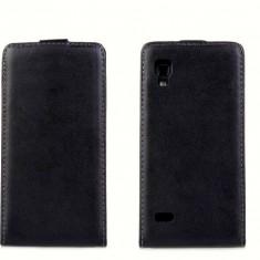 Husa LG Optimus L9 P760 P765 Flip Case Slim Inchidere Magnetica Black - Husa Telefon LG, Negru, Piele Ecologica, Cu clapeta, Toc