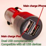 Incarcator auto pentru Tableta si telefoane, iPhone, iPad, iPod, 5v 2,4A - 5v 1A, total 3.4 A, 17 W