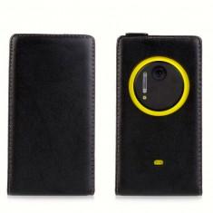 Husa Nokia Lumia 1020 Flip Case Slim Inchidere Magnetica Black - Husa Telefon Nokia, Negru, Piele Ecologica, Cu clapeta, Toc