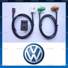 Buton + Cablaj pentru media AUX JACK plus USB INPUT pentru VW Golf 5, Golf 6, Jetta, Eos, Passat B6, CC, Passat B7, compatibil RCD si RNS - Elemente montaj audio auto