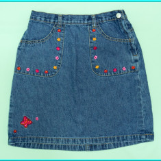 DE FIRMA _ Fusta blugi, cu broderie florala, impecabila, H&M _ fete | 9 - 10 ani, Marime: Alta, Culoare: Albastru