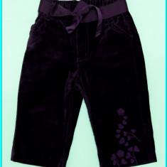 DE FIRMA _ Pantaloni brodati, catifea neteda, ca noi, H&M _ fete | 9 - 12 luni +, Marime: Alta, Culoare: Mov