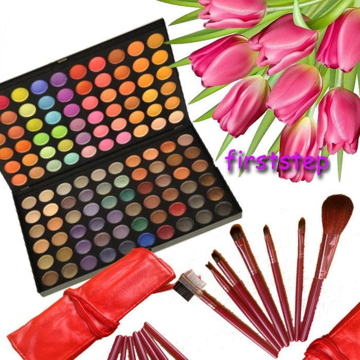 Trusa machiaj paleta farduri profesionala Fraulein 120 culori set 7 pensule Megaga Rosii par natural Cadou  Ambalaj