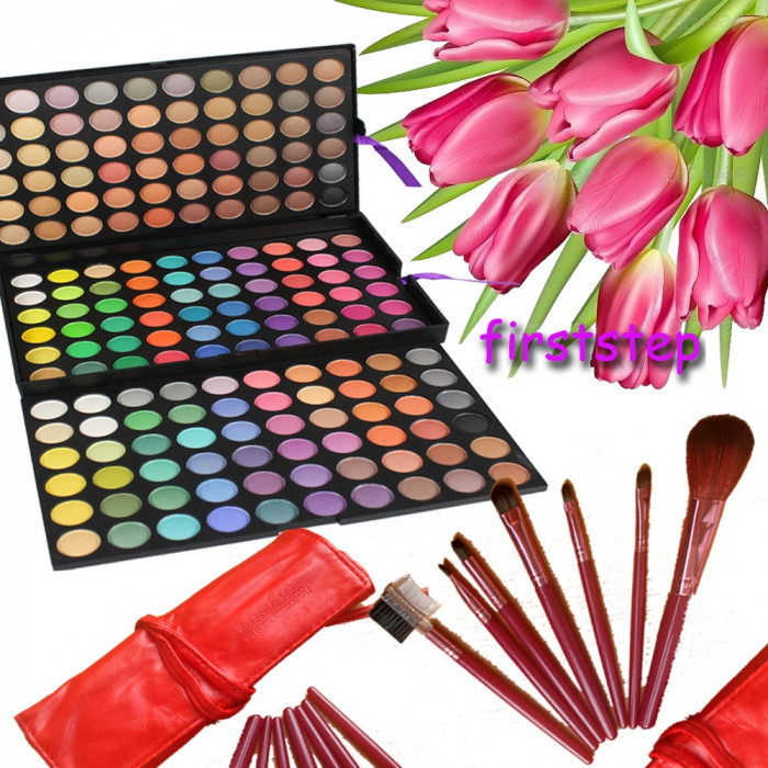 Trusa machiaj paleta farduri profesionala Fraulein 180 culori set 7 pensule Megaga Rosii par natural Cadou  Ambalaj