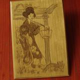 Pirogravura placaj - imagine japoneza - portret pirogravat !!!