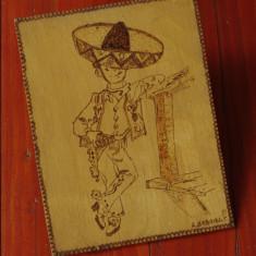 Pirogravura placaj - perioada comunista - portret mexican pirogravat - A. Gabriela 1978 !!! - Tablou autor neidentificat