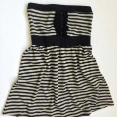 Rochie tricot New Yorker - neagra cu gri - Rochie tricotate, Marime: M, Scurta, Fara maneca