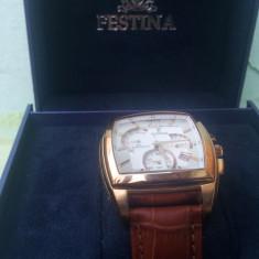 Ceas Festina - Ceas barbatesc Festina, Elegant, Quartz, Inox, Piele, Cronograf