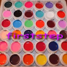 Kit unghii false tehnice set gel uv color 36 bucati COCO culori mate geluri colorate construsctie lampa uv Cadou tatuaje sticker aqua motiv CRACIUN, Gel colorat