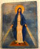 Icoana MAICA DOMNULUI 36 x 24 cm / Icoana veche pictata pe lemn - Fecioara Maria