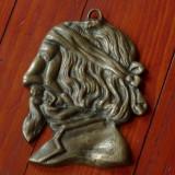Piesa decor - pentru perete - bronz - fata umana care incadreaza si alte detalii !!! - Metal/Fonta