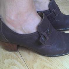 Pantofi din piele firma marimea 38, 5, aproape noi! - Pantof dama, Culoare: Maro, Negru, Marime: 39, Cu platforma