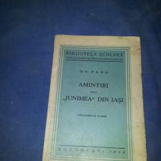 AMINTIRI DE LA JUNIMEA DIN IASI GH PANU - Carte veche