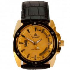 Ceas de Lux Promado Herakles - Royal Collection , gold - black, mecanism japonez HATTORI ~ placat cu aur  ~ ! ! !