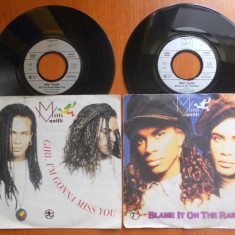 Raritate! 2 Discuri Vinyl Milli Vanilli - Girl i'm gonna miss you, Blame it on the rain.1989, Hansa, Germany.Stereo, 45rpm.(Vinil de colectie, pick-up) - Muzica Pop virgin records