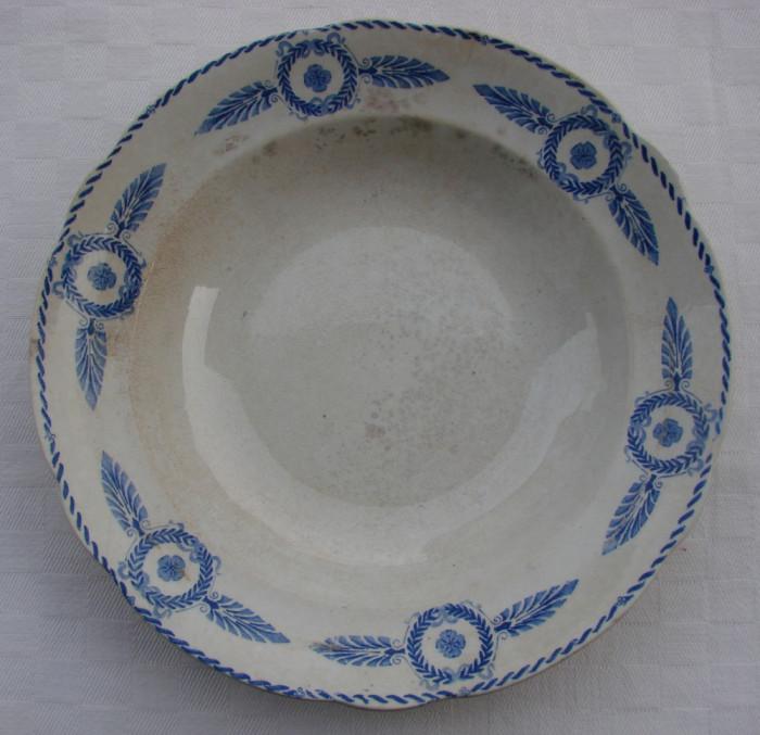 Farfurie mare pentru supa din portelan suedez vechi marca Gefle