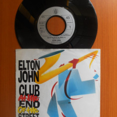"""Raritate! Disc Vinyl 7"""" Elton John Club - At The End Of The Street,Give Peace A Chance,1989,Phonogram,Germany.Stereo,45rpm.(Vinil de colectie,pick-up), virgin records"""