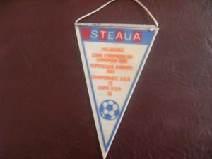 Fanion fotbal - colectie de la meciul Steaua Bucuresti- I. F. K. Goteborg, turul 3, Cupa  Campionilor Europeni, din data de 15.03.1989 !