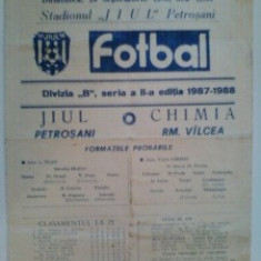 Chimia Rm.Valcea-Jiul Petrosani (20 septembrie 1987) - Program meci