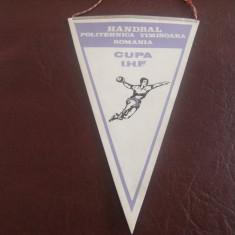 Fanion handbal-colectie, Clubul Sportiv Politehnica Timisoara, 1985, Cupa I.H. F. !